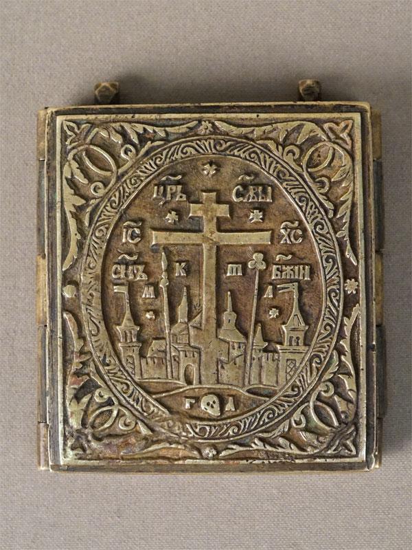 Складень «Деисусный ряд», медное литье, эмаль, XX век, 7,5 × 12,5см