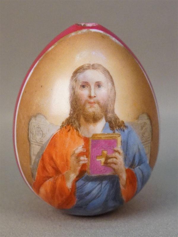 Яйцо пасхальное «Господь Вседержитель», фарфор, роспись, высота 7,5см