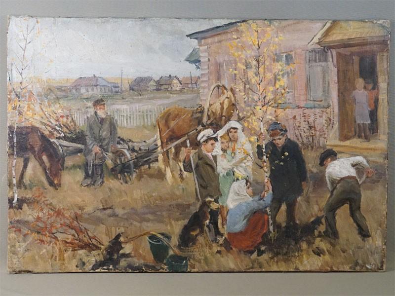 Картина. Н.А.Пластов, «Посадка дерева возле школы», холст, масло, 53 × 80см, 1950-е годы