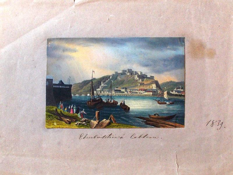 Вид на Крепость Эренбрейтштейн.  С картины Уильяма Кэллоу, 1839. Гравюра на стали с акварельной подкраской. – 9,5 × 14,5 см. На паспарту.