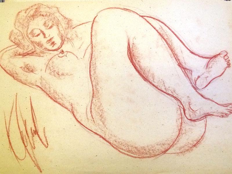 Костромина, В.Г. Ню №30.  Бумага, уголь, 60 × 41 см, 1985 год.