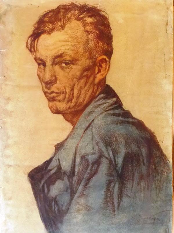 Зильберштейн, Л.А. Стахановец. Бумага, смешанная техника, 62 × 43 см.
