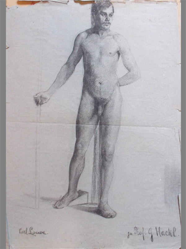 Карл Локвэ. Натурщик №1, бумага, уголь, 1880-е годы, 60 × 45 см.
