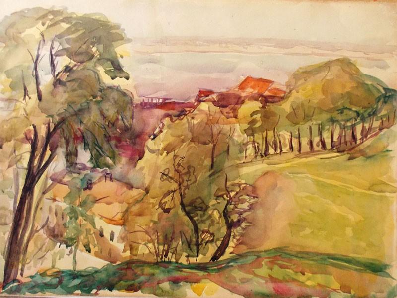 Галкин, А., Вид Нижнего Новгорода. Бумага, акварель, 32 × 34 см, 1931 год.