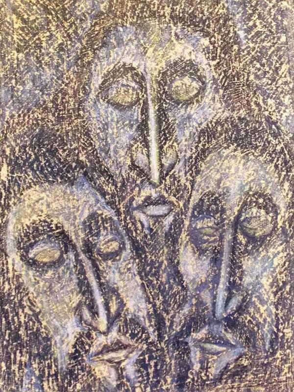 Козлов. Троица №10. Бумага, смешанная техника, 1987 год, 54 × 36 см