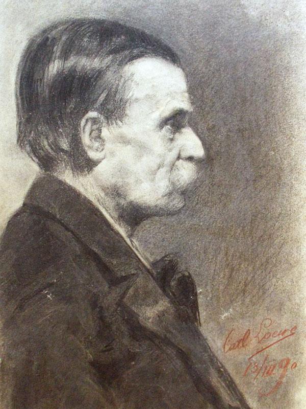 Карл Локвэ. Мужской портрет. Бумага, уголь, 1890 год, 60 × 45 см