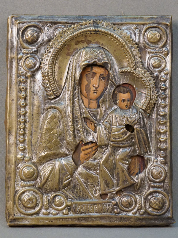 Икона «Пресвятая Богородица Коневская», дерево, темпера, оклад латунь, начало XX века, 22,5 × 17,5см