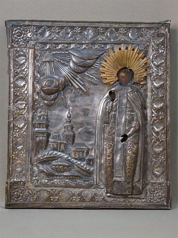 Икона «Святой Благоверный князь Александр Невский», дерево, темпера, оклад латунь, серебрение, конец XVIII — начало XIX века, 28,5 × 25см