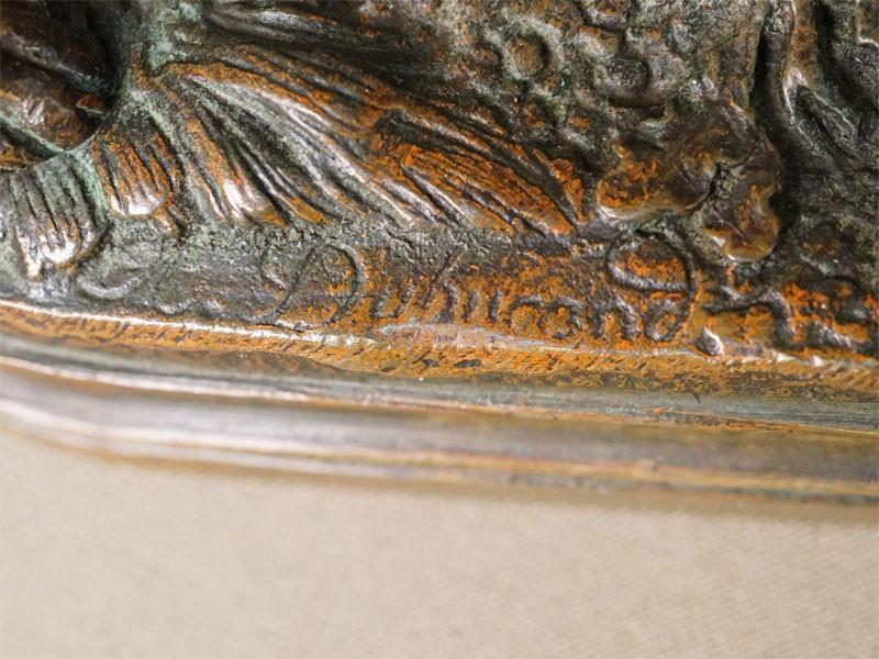 «Охотничья собака с фазаном», бронза, литье, патинирование, длина 16,5см, конец XIX – начало XX века, авторская подпись