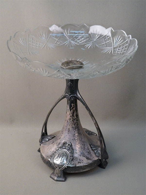 Ваза для фруктов в стиле модерн, металл, серебрение, стекло. Варшава, Plewkiewicz, конец XIX — начало XX века, высота 37см, диаметр 33см