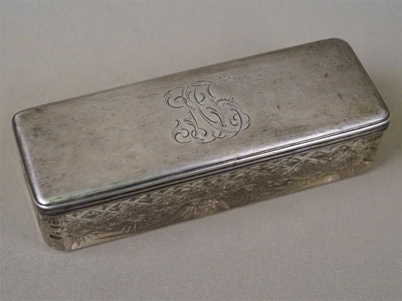 Шкатулка, хрусталь, серебро 84 пробы, 18,5 × 6,5 × 4,5см