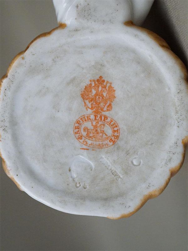 Спичечница «Мальчик», фарфор, роспись. Завод Гарднера, XIX век, длина 10см (скол)