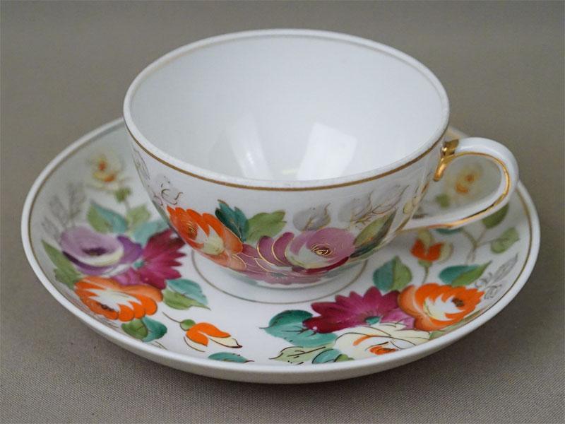 Чайная пара «Цветы», фарфор, роспись, золочение. Чудово, 1960-70-е годы