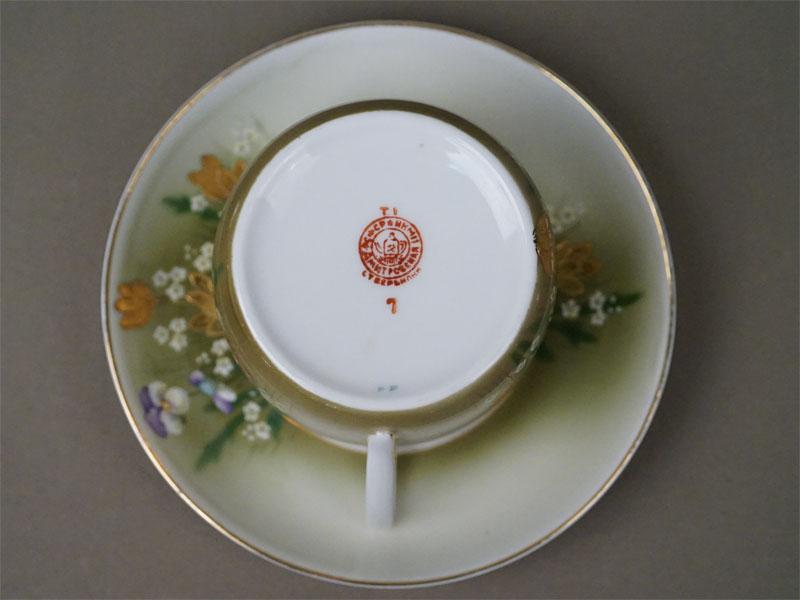 Чайная пара «Фиалки», фарфор, роспись, золочение. Вербилки, 1930-е годы