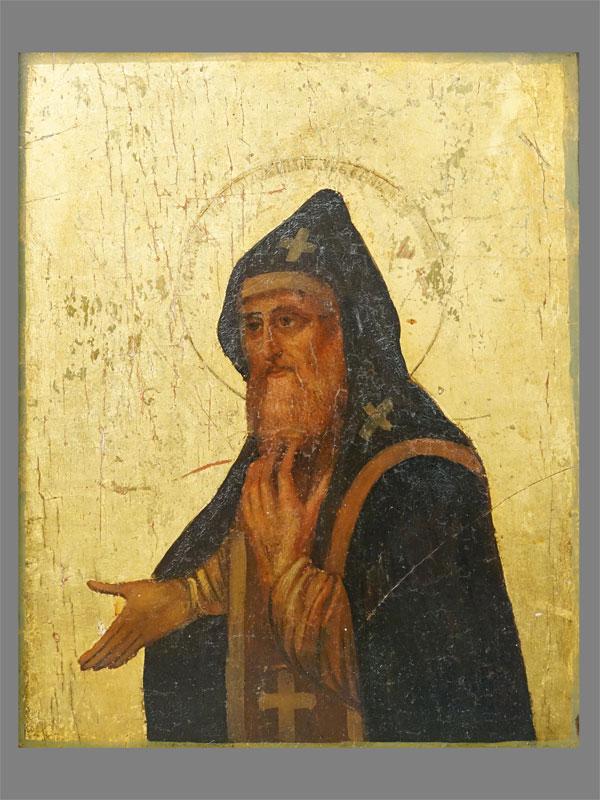 Икона в киоте «Святой Преподобный Арсений Коневский», дерево, смешанная техника, золочение, XIX век, 22,5 × 17,5см