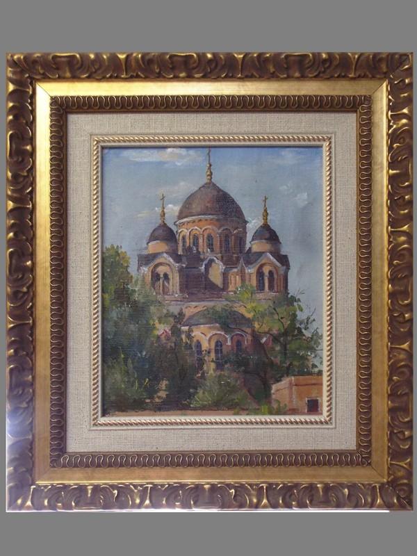 Картина в раме с паспарту. Неллингер, Т. Н., «Свято-Ильинский монастырь в Одессе», холст, масло, 1952 год, 26 × 18 см.