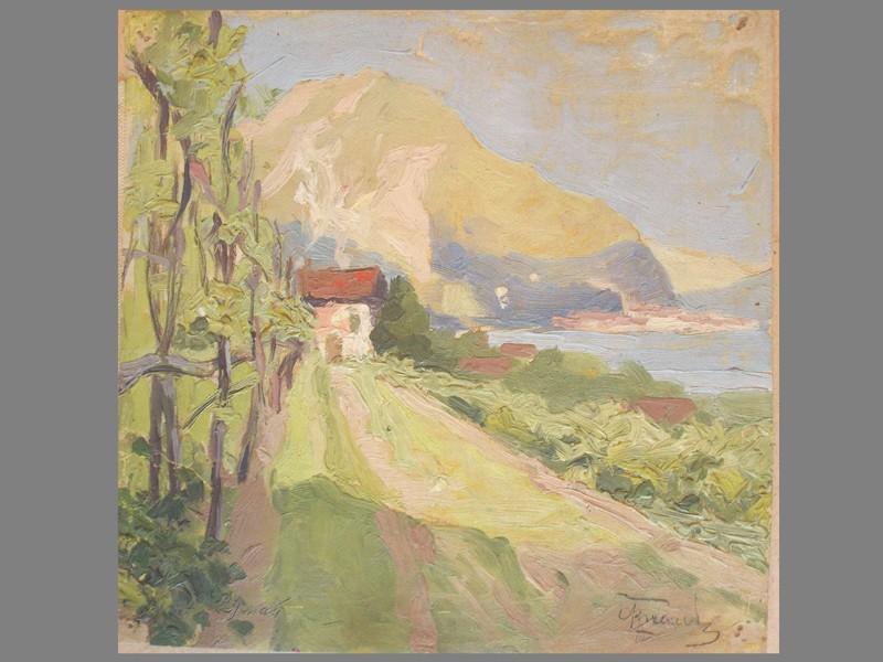 Фролов, С. И.«Крымский пейзаж», холст, масло, 21 × 21 см, около 1906 года