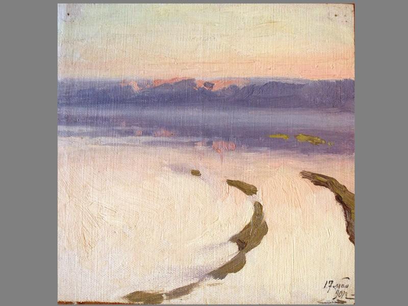 Фролов, С., «Кояшское соляное озеро. Крым», холст, масло, 19 мая 1907 года, 19 × 19 см