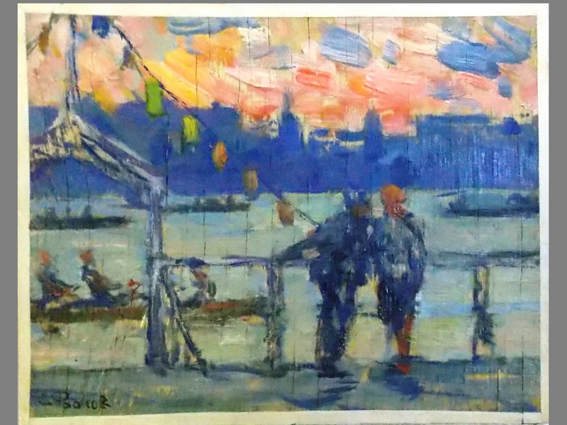 Фролов, С. Триптих «Парк Культуры и отдыха в Москве», фанера, масло, около1928 года, 18 × 22 см