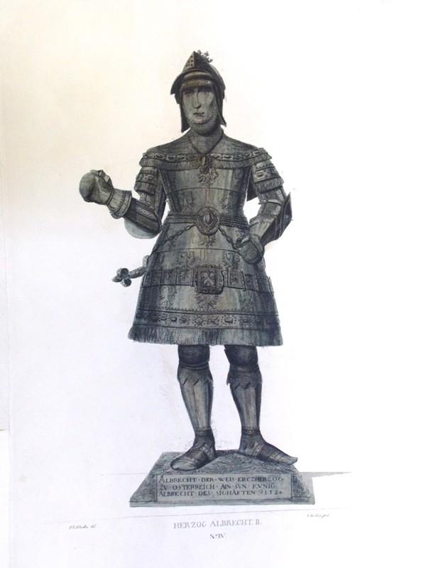 Альбрехт  II, Король Германии (1438—1439) и герцог Австрии (c 1404). Гравюра на меди, акватинта. Размер:  29 × 15 см. Лист: 41 × 29 см. Гравюра J. Schleich, по рис. Johann Georg Schädler, 1823. Церковь Хофкирхе в Инсбруке, где находится мраморный саркофаг Максимилиана I, который охраняет знаменитая черная свита. 28 Черных рыцарей и дам в человеческий рост, от короля Артура и императора Теодориха.