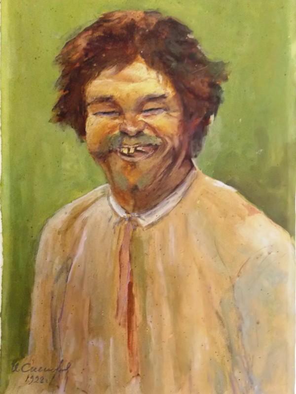 Снегирев Иван, «Смеющийся мужик», бумага, смешанная техника, 1928 год, 38 × 24 см.