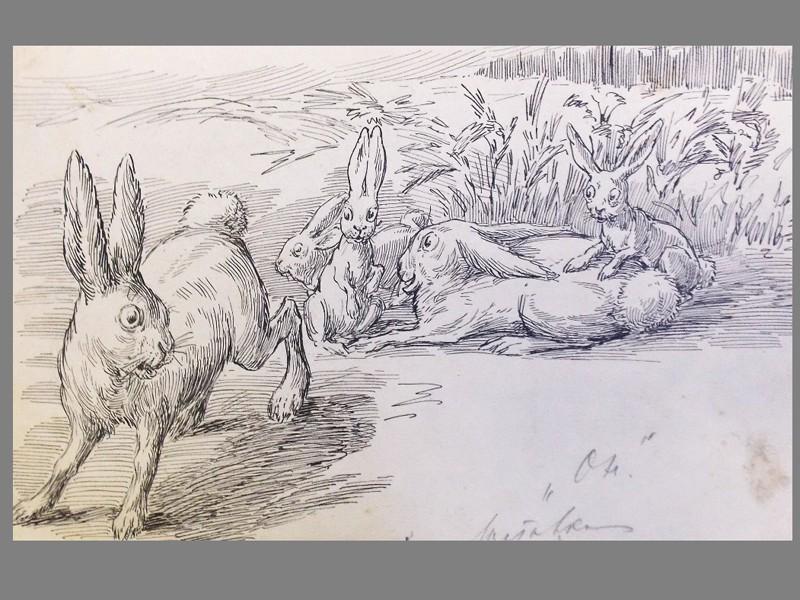Малеина, Е. А., «Зайцы. Заставка к детской книжке». Бумага, карандаш, тушь, ок. 1920 года, 16 × 25 см.