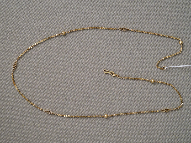 Цепь, золото по реактиву (22 К), общий вес 3,23г., длина 41см