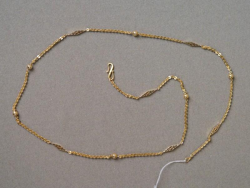 Цепь, золото по реактиву (22 К), общий вес 6,36г., длина 50см