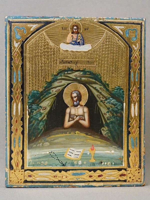 Икона «Святой Преподобный Иоанн Многострадальный», дерево, смешанная техника, золочение, конец XIX века, 13,2 × 10,9см.