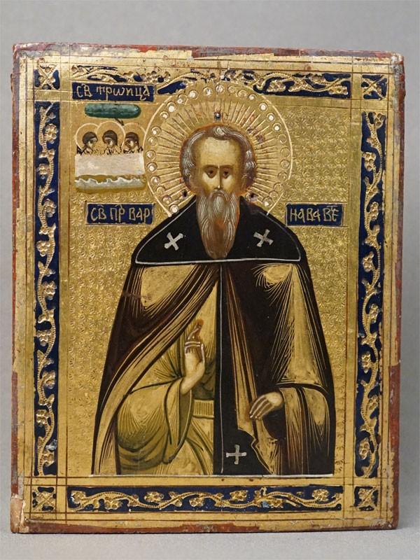 Икона в киоте «Святой Преподобный Варнава Ветлужский», дерево, смешанная техника, золочение, конец XIX века, 13,4 × 10,8см