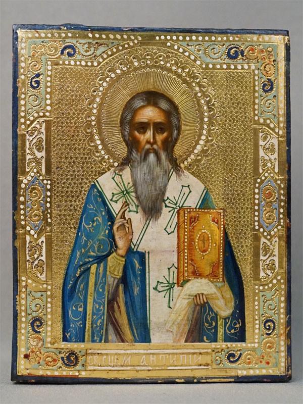 Икона в киоте «Святой Мученик Антипа», дерево, смешанная техника, золочение, конец XIX века, 13,4 × 10,6см