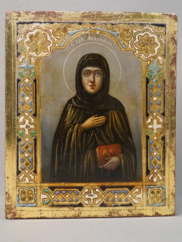 Икона в киоте «Святая Преподобная Анастасия», дерево, смешанная техника, золочение, конец XIX века, 13,7 × 11,5см