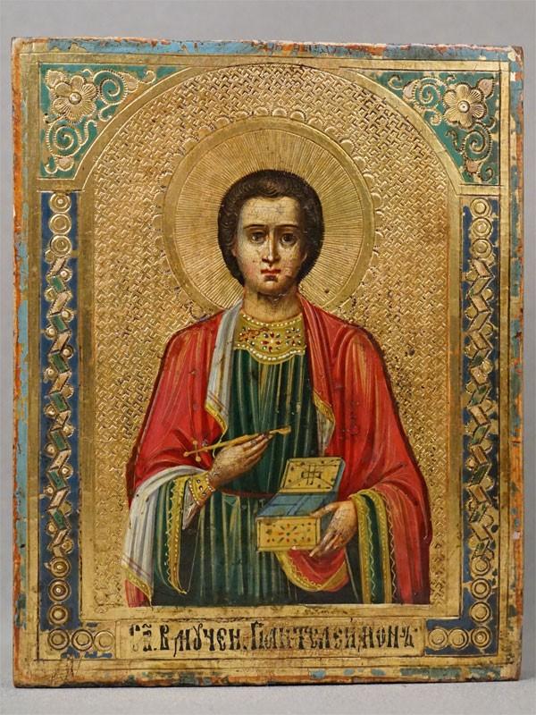 Икона в киоте «Святой Великомученик Пантелеймон», дерево, смешанная техника, золочение, конец XIX века, 13,5 × 10,8см