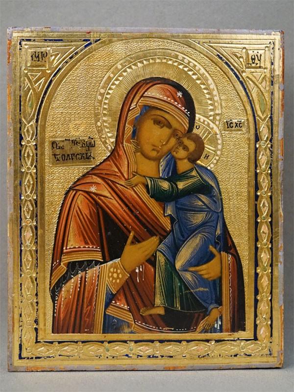 Икона в киоте «Пресвятая Богородица Толгская», дерево, смешанная техника, золочение, конец XIX века, 13,2 × 11см