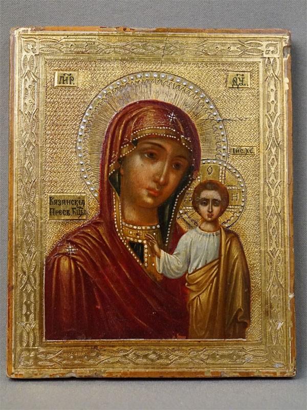 Икона в киоте «Пресвятая Богородица Казанская», дерево, смешанная техника, золочение, конец XIX века, 13,5 × 11см