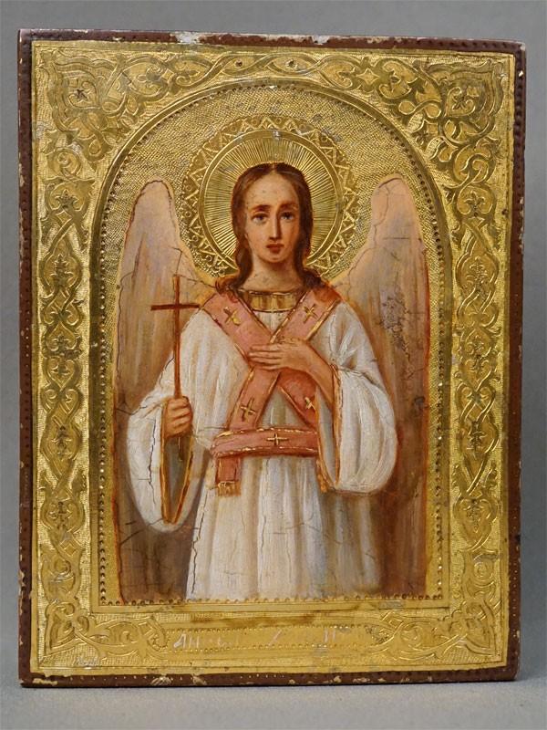 Икона в киоте «Святой Ангел Хранитель», дерево, смешанная техника, золочение, конец XIX века, 13,5 × 10,5см
