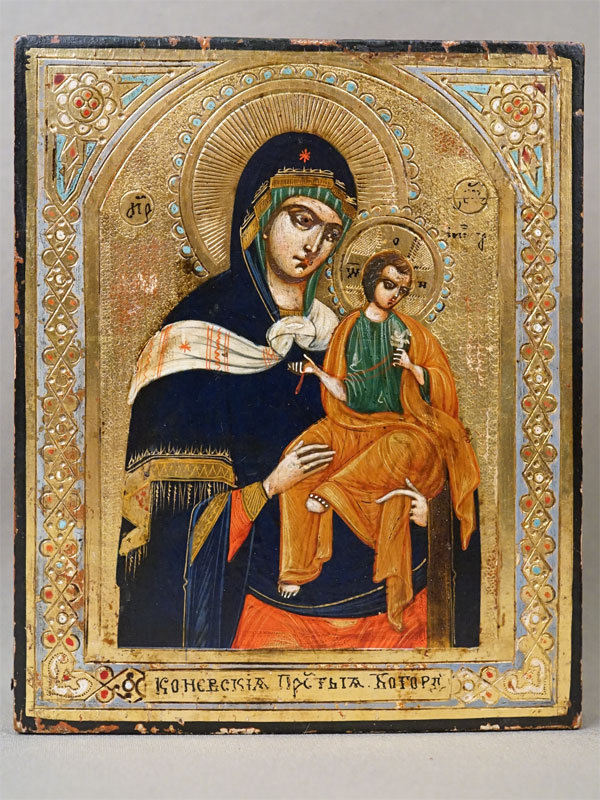 Икона в киоте «Пресвятая Богородица Коневская», дерево, смешанная техника, золочение, конец XIX века, 13,2 × 10,2см