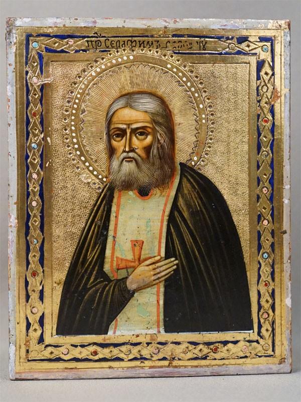 Икона в киоте «Святой Преподобный Серафим Саровский», дерево, смешанная техника, золочение, начало XX века, 13,5 × 10,7см