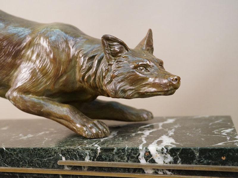 Скульптура «Лиса», бронза, литье, патинирование, длина 50,5см; постамент камень, длина 77см. Западная Европа, начало XX века