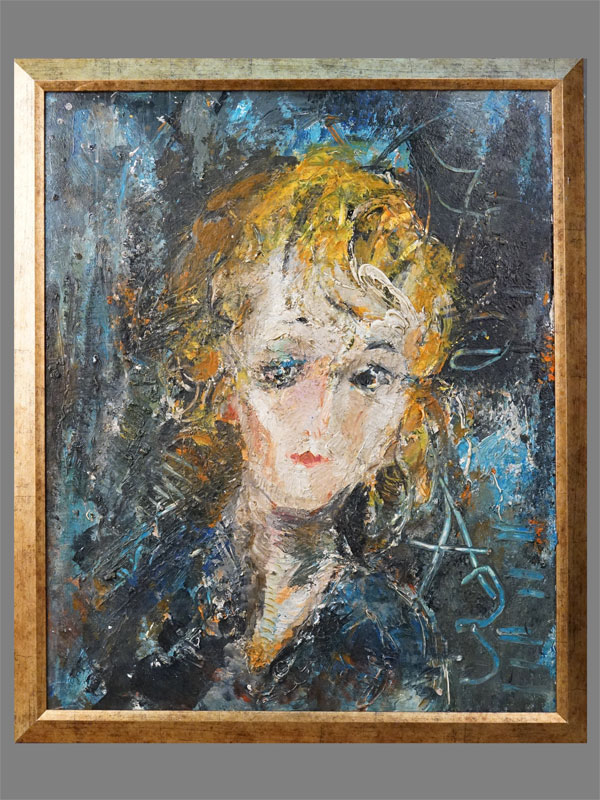 Картина в раме. А.Зверев (?), «Женский портрет», оргалит, масло, 1975 год (?), 54 × 46см