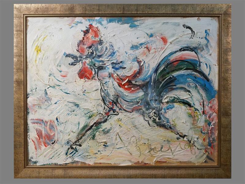 Картина в раме. А.Зверев (?), «Петух», оргалит, масло, 1977 год (?), 48 × 61см