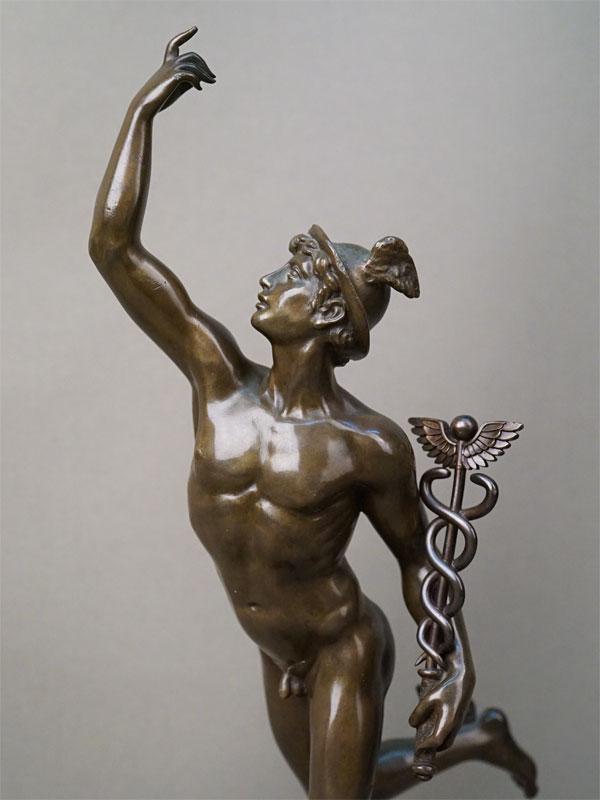 Скульптура «Меркурий», бронза, литье, патинирование; постамент камень. Франция, конец XIX – начало XX века, высота 37см