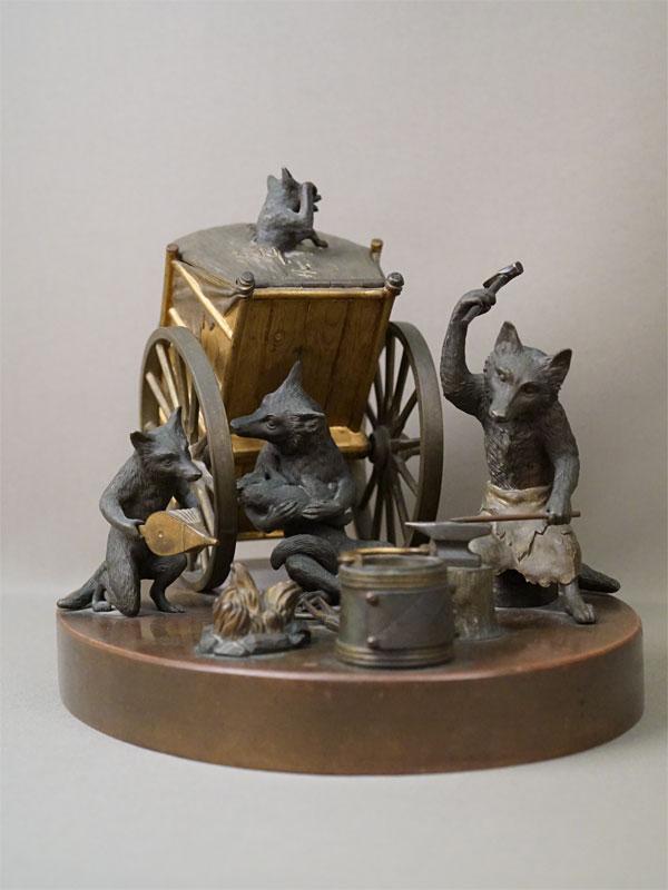 Сигарный прибор «Передвижная лисья кузница», бронза, золочение. Франция, конец XIX века, высота 23см, длина 33см