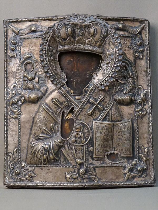 Икона «Святой Николай Чудотворец», дерево, левкас, темпера. Оклад серебро 84 пробы, 1780 год, 31,5 × 27,5см