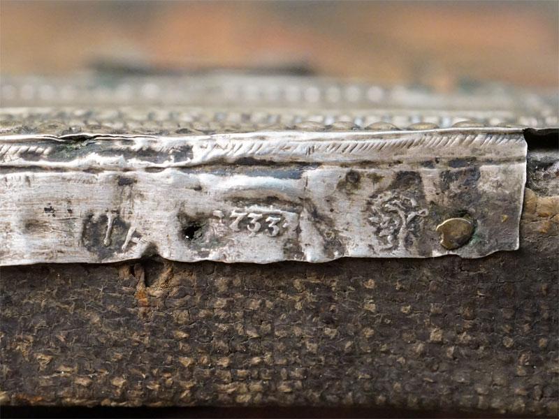 Икона в киоте «Святой Николай Можайский», дерево, левкас, темпера. Оклад серебро 84 пробы, 1733 год, мастер Афанасий Рыбаков, 16,2 × 14см