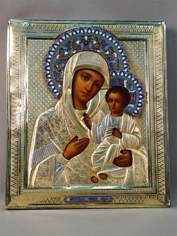 Икона «Пресвятая Богородица Иверская», дерево, масло. Оклад серебро 84 пробы, золочение, венец эмаль. Москва, 1896 год, 31 × 26,2см