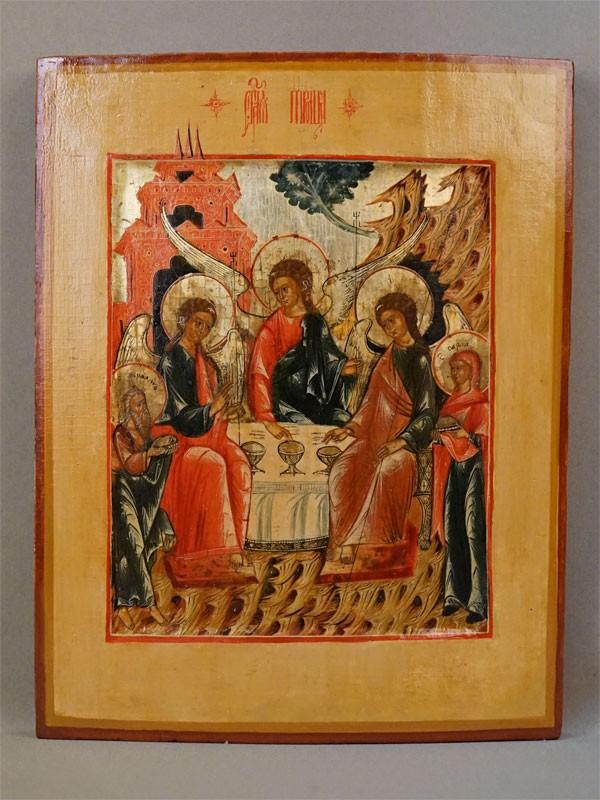 Икона «Святая Троица Ветхозаветная», дерево, левкас, темпера, золочение. Палех белофонный, XVIII век, 33,7 × 27см
