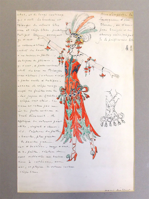 Марсель Мульцер. Два рисунка: «Belle fleur» и «Дикарка»  , бумага, карандаш, перо, чернила, акварель, 28 × 24 см и 23 × 17 см, 1907 год. Два из восьмидесяти четырех проектов для «La Belle au Bois dormant».