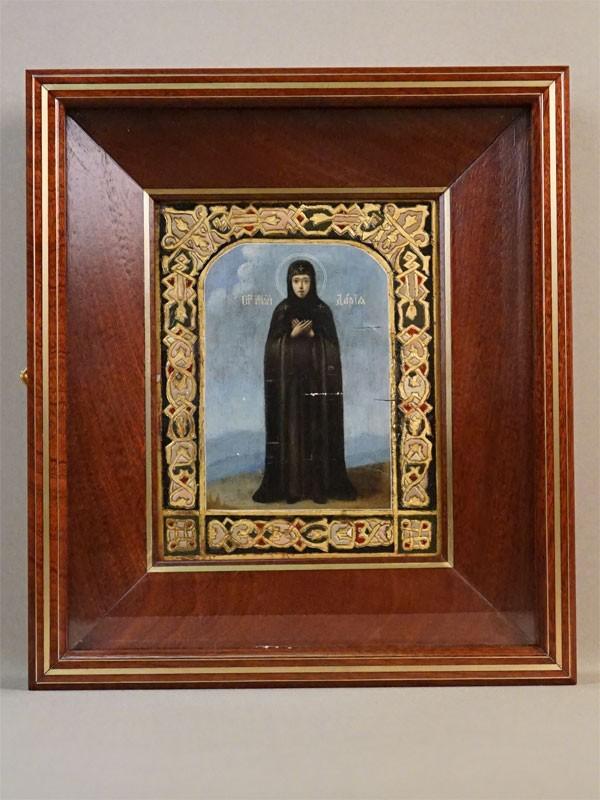 Икона в киоте «Святая Мученица Дарья», дерево, масло, сусальное золото, холодные эмали, 17,7 × 13,9см