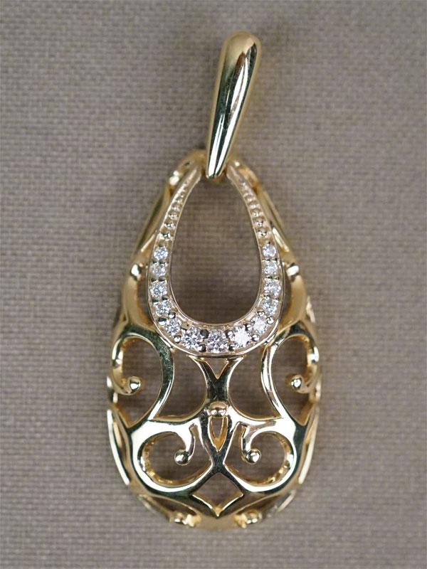 Подвеска, золото 585 пробы, общий вес 3,37г. Вставки: бриллианты (13бр Кр57 — 0,18ct 3/3)